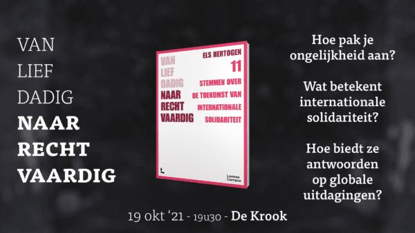 """19.10.2021 Boekvoorstelling en debat """"Van liefdadig naar rechtvaardig"""""""